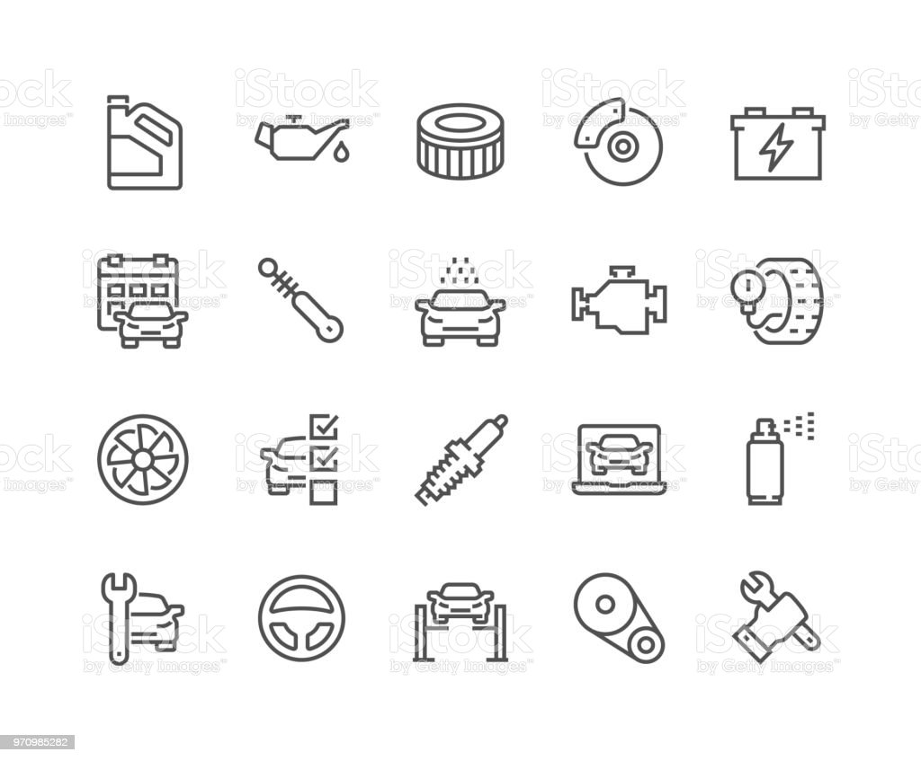 Line Car Service Icons Simple Set of Car Service Related Vector Line Icons. Contains such Icons as Oil, Filter, Steering Wheel, Check List and more. Editable Stroke. 48x48 Pixel Perfect. Battery stock vector