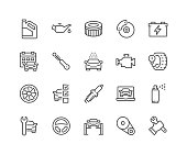 Simple Set of Car Service Related Vector Line Icons. Contains such Icons as Oil, Filter, Steering Wheel, Check List and more. Editable Stroke. 48x48 Pixel Perfect.