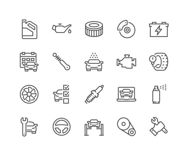 Line Car Service Icons Simple Set of Car Service Related Vector Line Icons. Contains such Icons as Oil, Filter, Steering Wheel, Check List and more. Editable Stroke. 48x48 Pixel Perfect. car stock illustrations