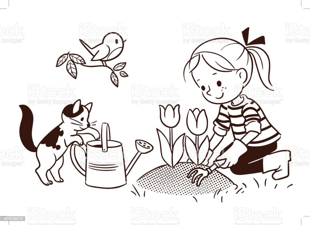 Line Drawing Little Girl : Line cartoon drawing of a little girl gardening in spring