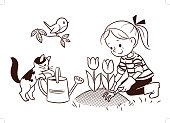 Vector black and white cartoon line drawing of a cute little girl gardening in the springtime, with flower bed of tulips, cat, watering can and robin bird on a branch. Design element for print and web, coloring page
