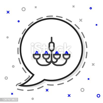 istock Line Chandelier icon isolated on white background. Colorful outline concept. Vector Illustration 1267673822