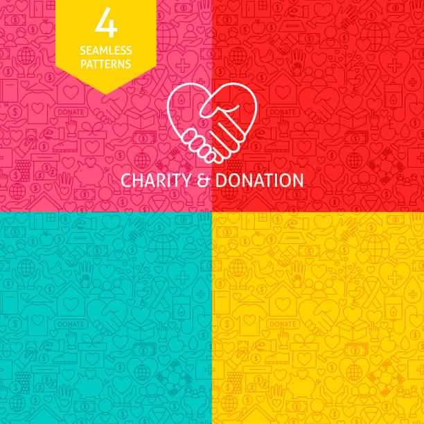 Line Charity Donation Patterns vector art illustration