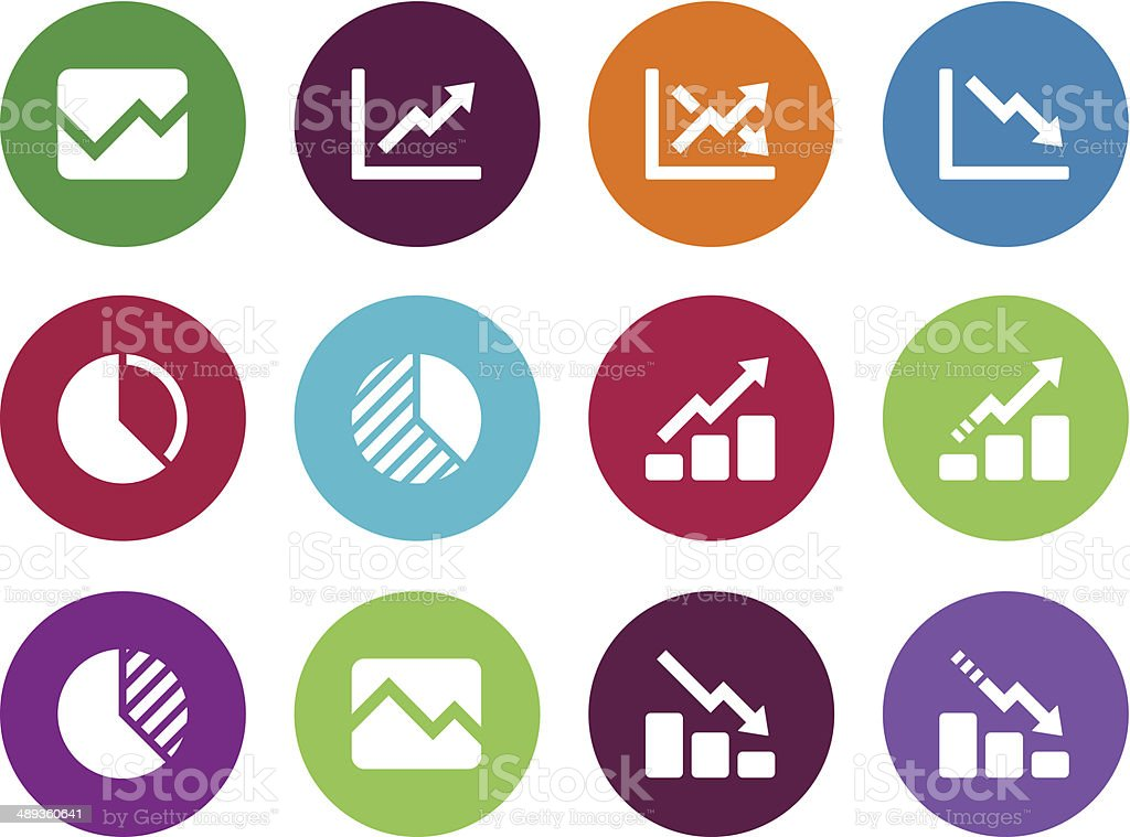 Line chart and Diagram circle icons. vector art illustration