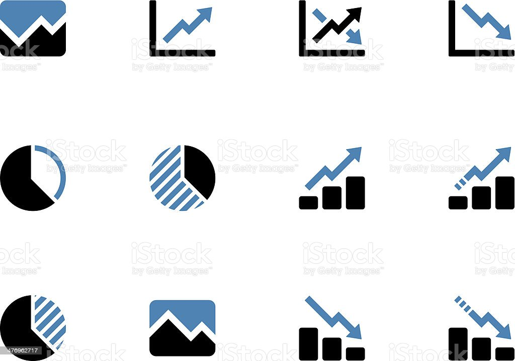 Line chart and Diagram duotone icons. vector art illustration