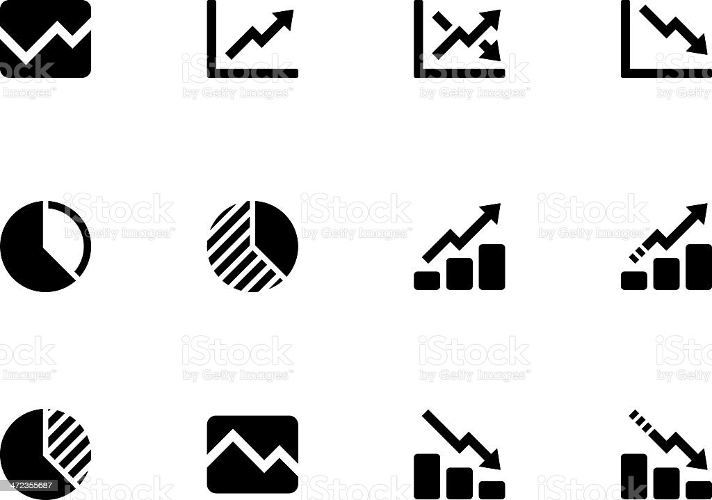 Line chart and Diagram icons vector art illustration