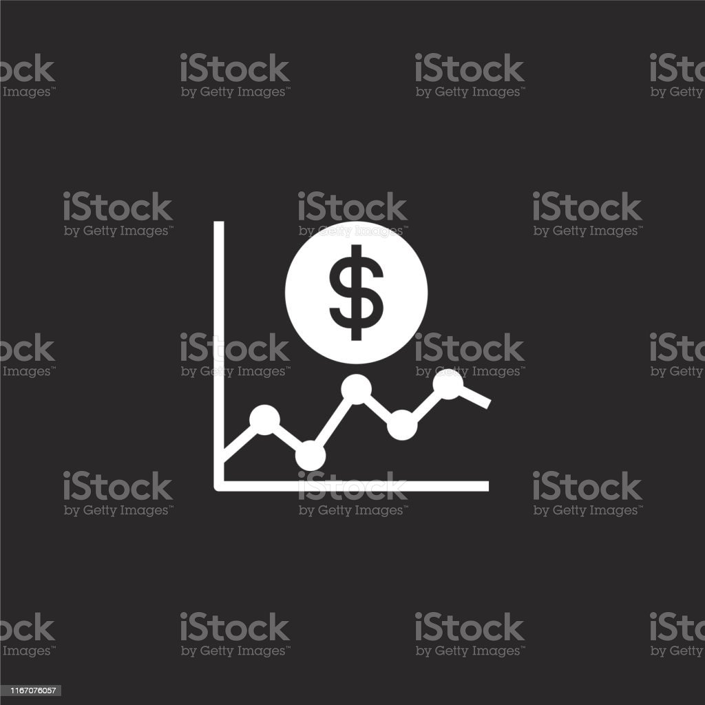 line chart icon. Filled line chart icon for website design and...