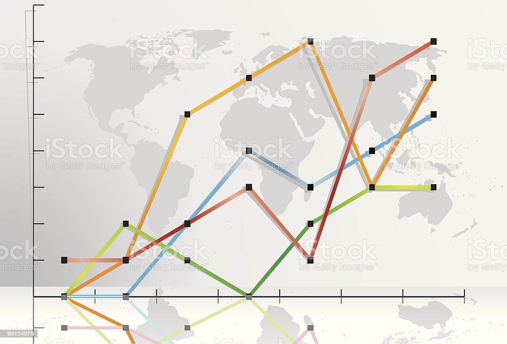 Line Chart World Map vector art illustration