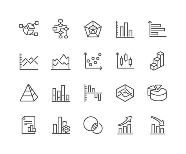 line charts and diagrams icons - conspiracy stock illustrations