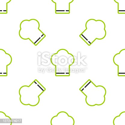 istock Line Chef hat icon isolated seamless pattern on white background. Cooking symbol. Cooks hat. Vector 1272474017