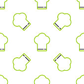 Line Chef hat icon isolated seamless pattern on white background. Cooking symbol. Cooks hat. Vector.
