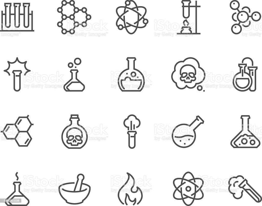 Line Chemical Icons vector art illustration