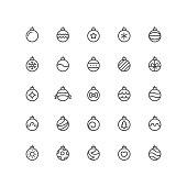 Set of christmas balls vector thin line icons. Editable stroke.