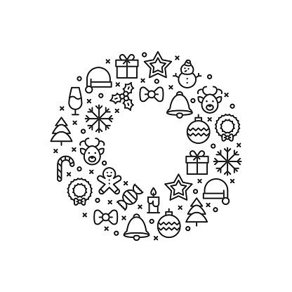Line Christmas Icon Circle Background