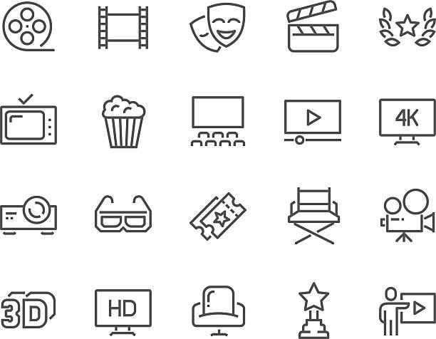line cinema icons - film oder fernsehvorführung stock-grafiken, -clipart, -cartoons und -symbole