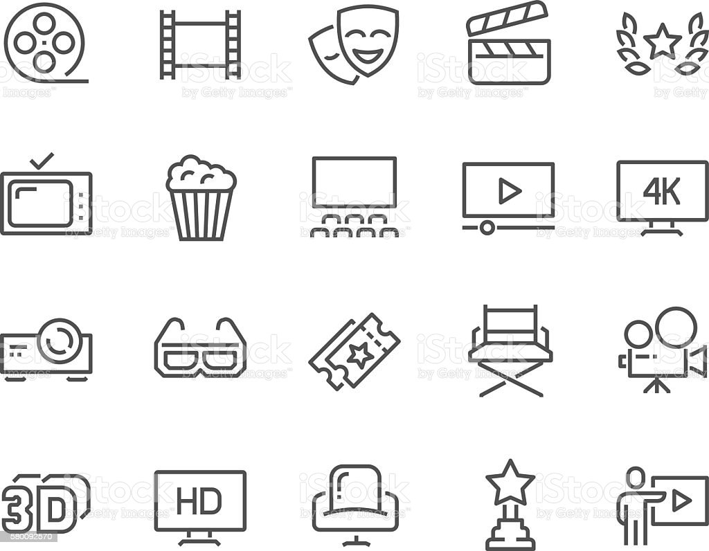 Line Cinema Icons vector art illustration