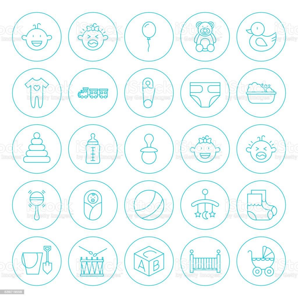 Line Circle Baby Child Icons Set vector art illustration