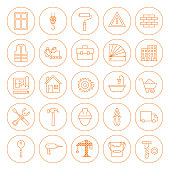 Line Circle Building and Construction Icons Set