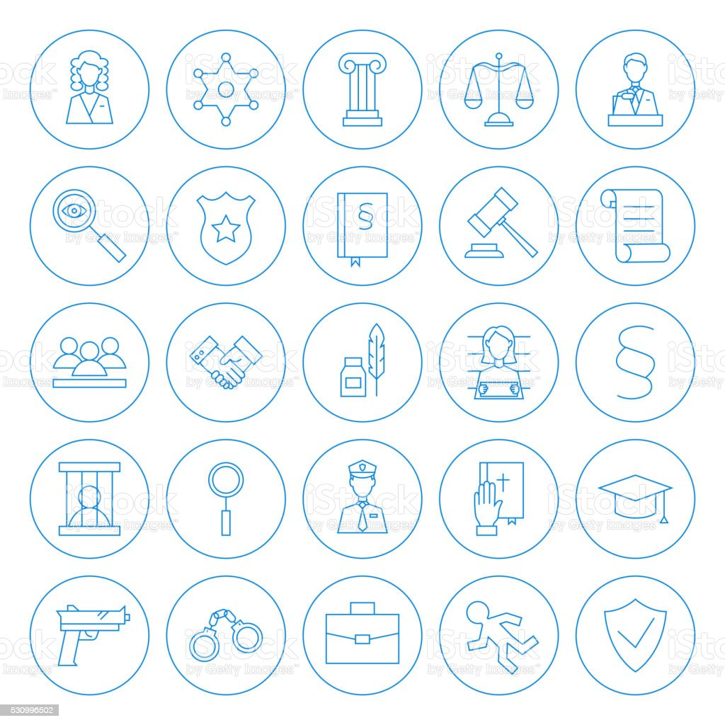 Line Circle Law and Crime Icons Set vector art illustration