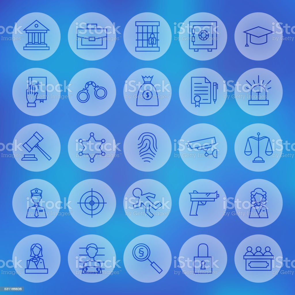Line Circle Law and Justice Icons Set vector art illustration