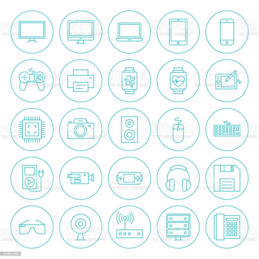 Line Circle Technology Gadgets Icons Set vector art illustration