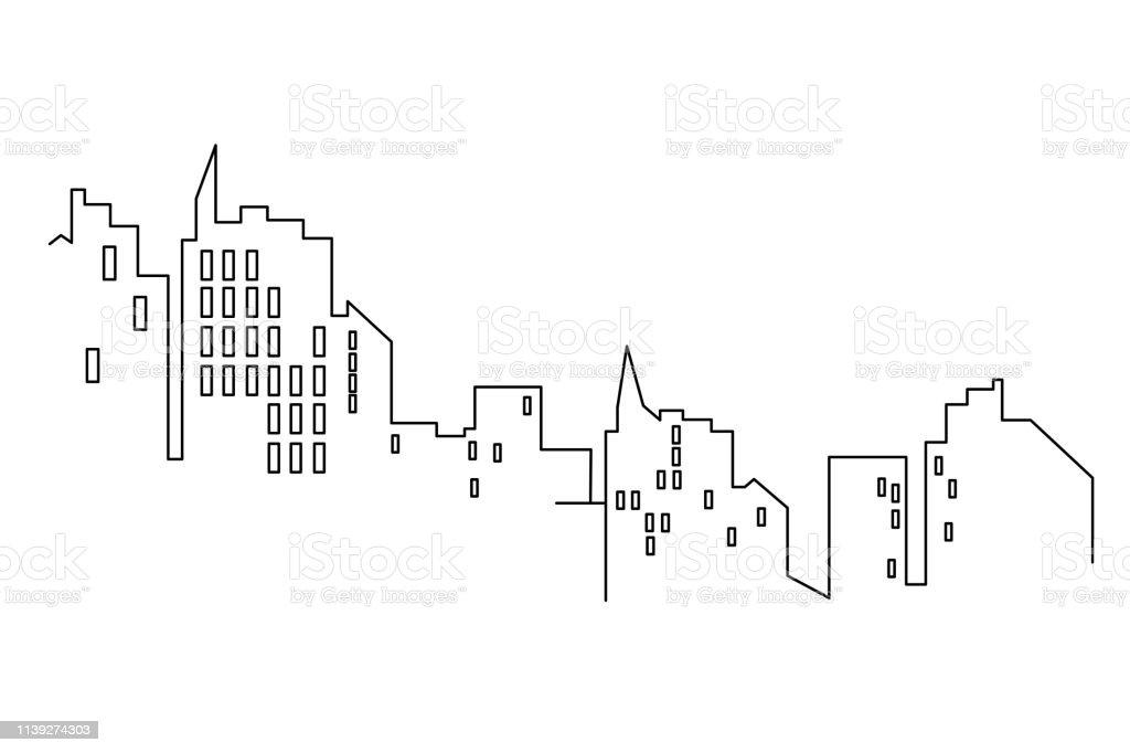 Paysage Urbain De Ligne Isole Ou Fond Blanc Design Plat Graphiques Vectoriels Vecteurs Libres De Droits Et Plus D Images Vectorielles De Abstrait Istock