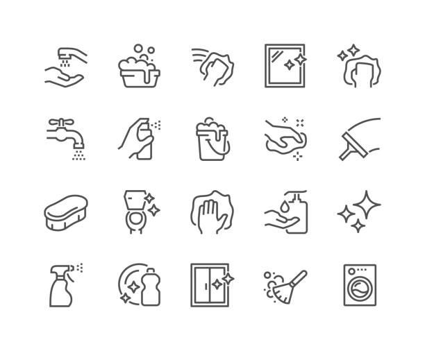 ilustrações, clipart, desenhos animados e ícones de linha limpeza ícones - higiene