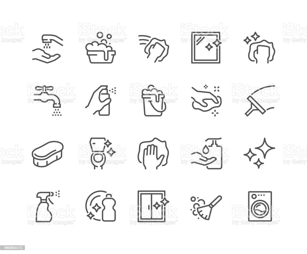Line Cleaning Icons vector art illustration