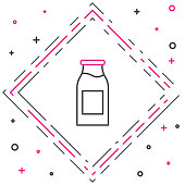 Line Closed glass bottle with milk icon isolated on white background. Colorful outline concept. Vector Illustration