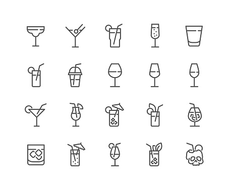 Line Cocktail Icons