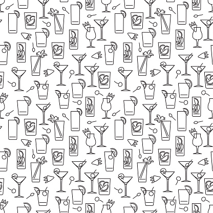 Line cocktails seamless pattern