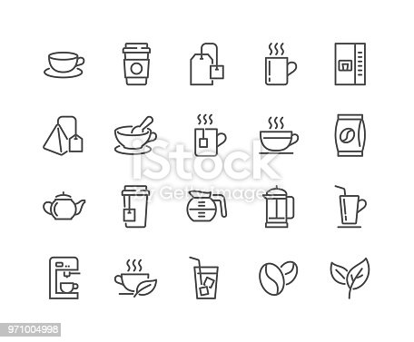 Simple Set of Coffee and Tea Related Vector Line Icons. Editable Stroke. 48x48 Pixel Perfect.