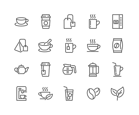 Line Coffee and Tea Icons clipart
