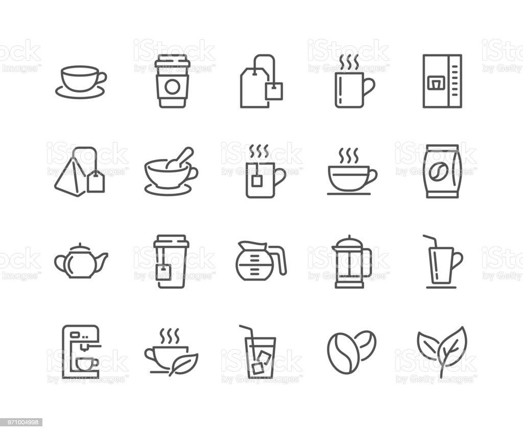 Línea café y té los iconos - ilustración de arte vectorial