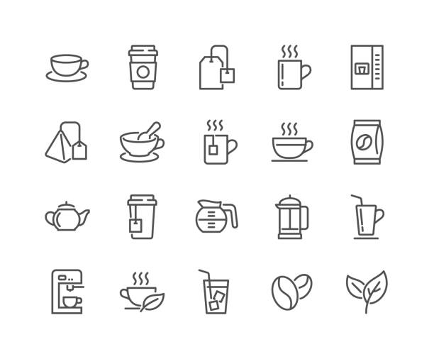 Line Coffee and Tea Icons Simple Set of Coffee and Tea Related Vector Line Icons. Editable Stroke. 48x48 Pixel Perfect. teapot stock illustrations