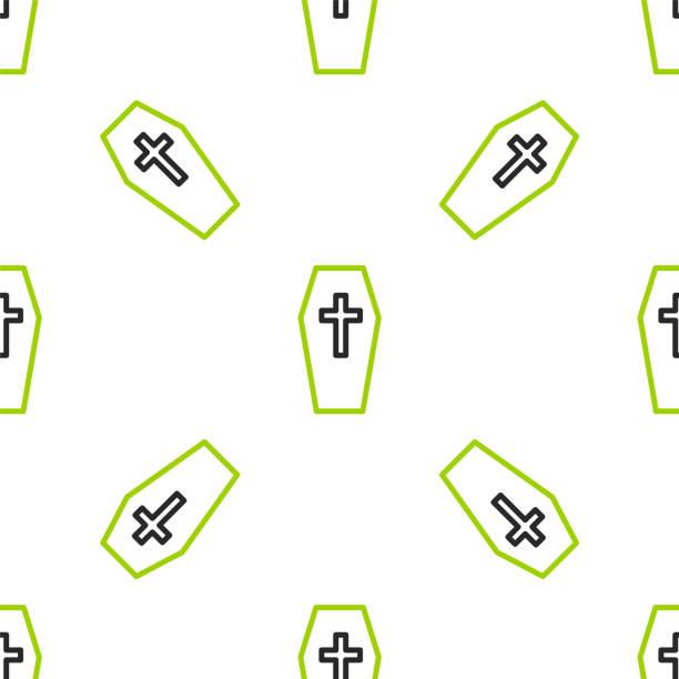 bildbanksillustrationer, clip art samt tecknat material och ikoner med linje kista med christian cross ikonen isolerade sömlösa mönster på vit bakgrund. glad halloweenfest. vektor - wood sign isolated