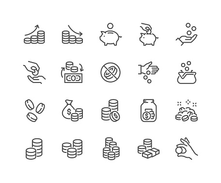 Line Coins Icons