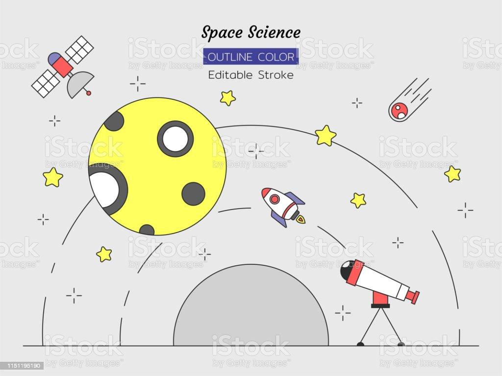 line color object set, space science concept, moon, comet, star,...