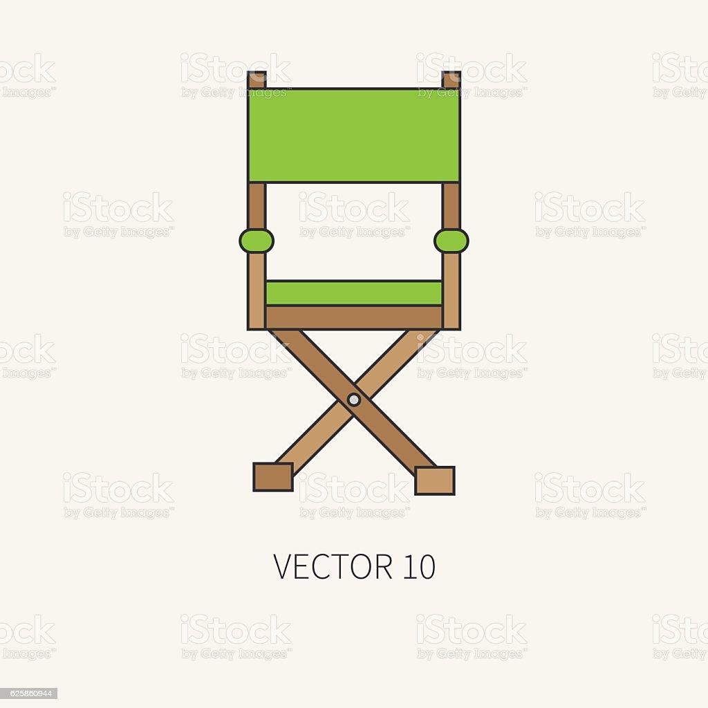Line color vector icon filmmaking directors chair. Cinema. Screenplay. Chair. vector art illustration