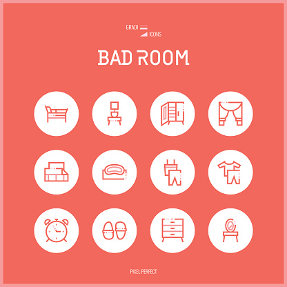 Line colorfuul icons set collection of bad room.