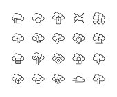 Simple Set of Computer Cloud Related Vector Line Icons. Contains such Icons as Data Synchronisation, Transfer, Cloud Settings and more. Editable Stroke. 48x48 Pixel Perfect.