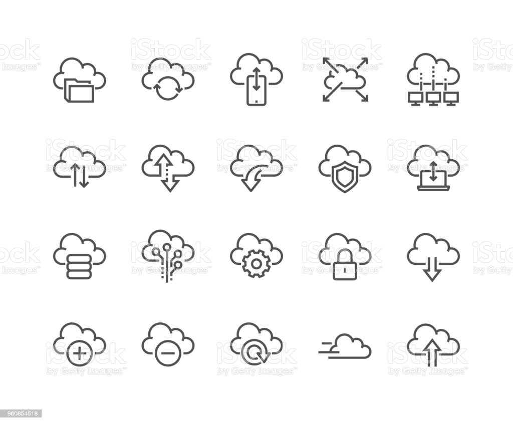 Line Computer Cloud Icons vector art illustration