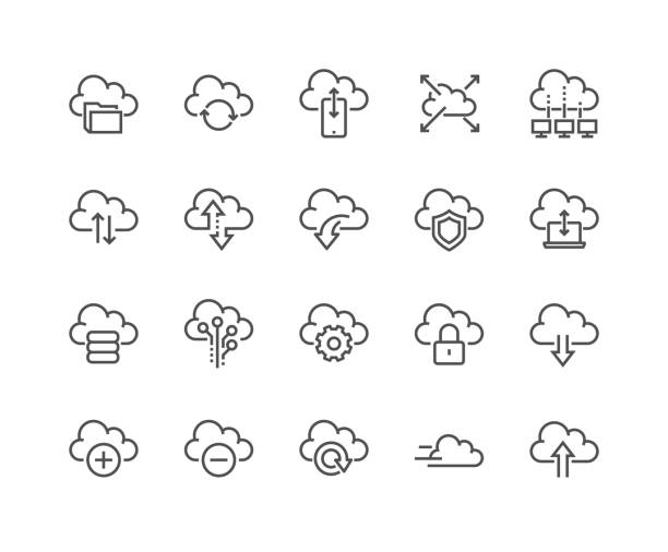 Line Computer Cloud Icons Simple Set of Computer Cloud Related Vector Line Icons. Contains such Icons as Data Synchronisation, Transfer, Cloud Settings and more. Editable Stroke. 48x48 Pixel Perfect. cloud computing stock illustrations
