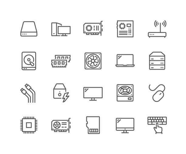 ikony składników komputera liniowego - przewód składnik elektryczny stock illustrations