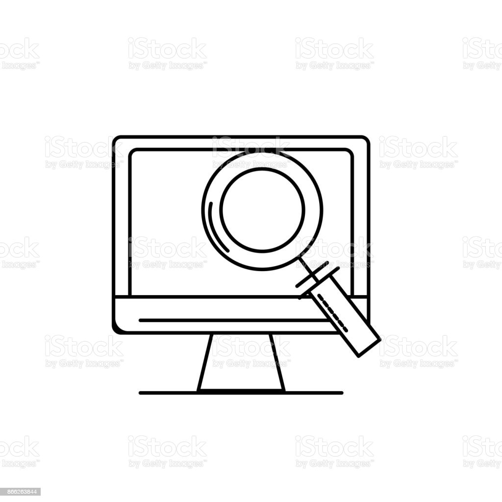 line computer technology information with magnifying glass vector art illustration