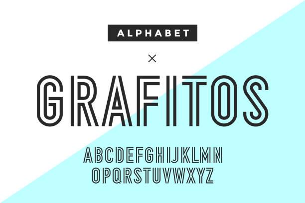 ilustrações de stock, clip art, desenhos animados e ícones de line condensed alphabet and font - grosso