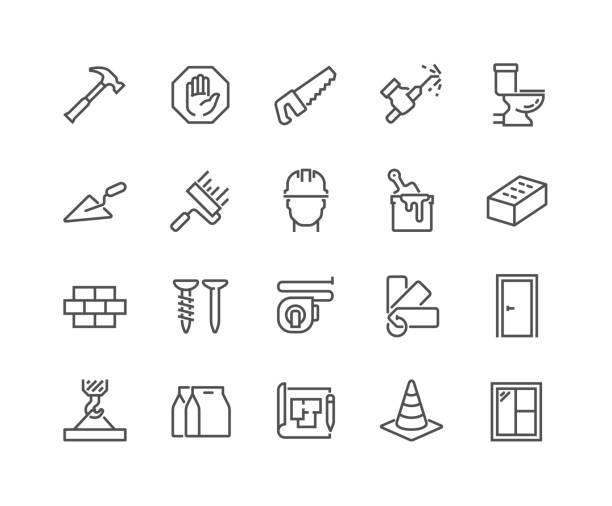 ilustrações, clipart, desenhos animados e ícones de ícones de construção de linha - banheiro estrutura construída