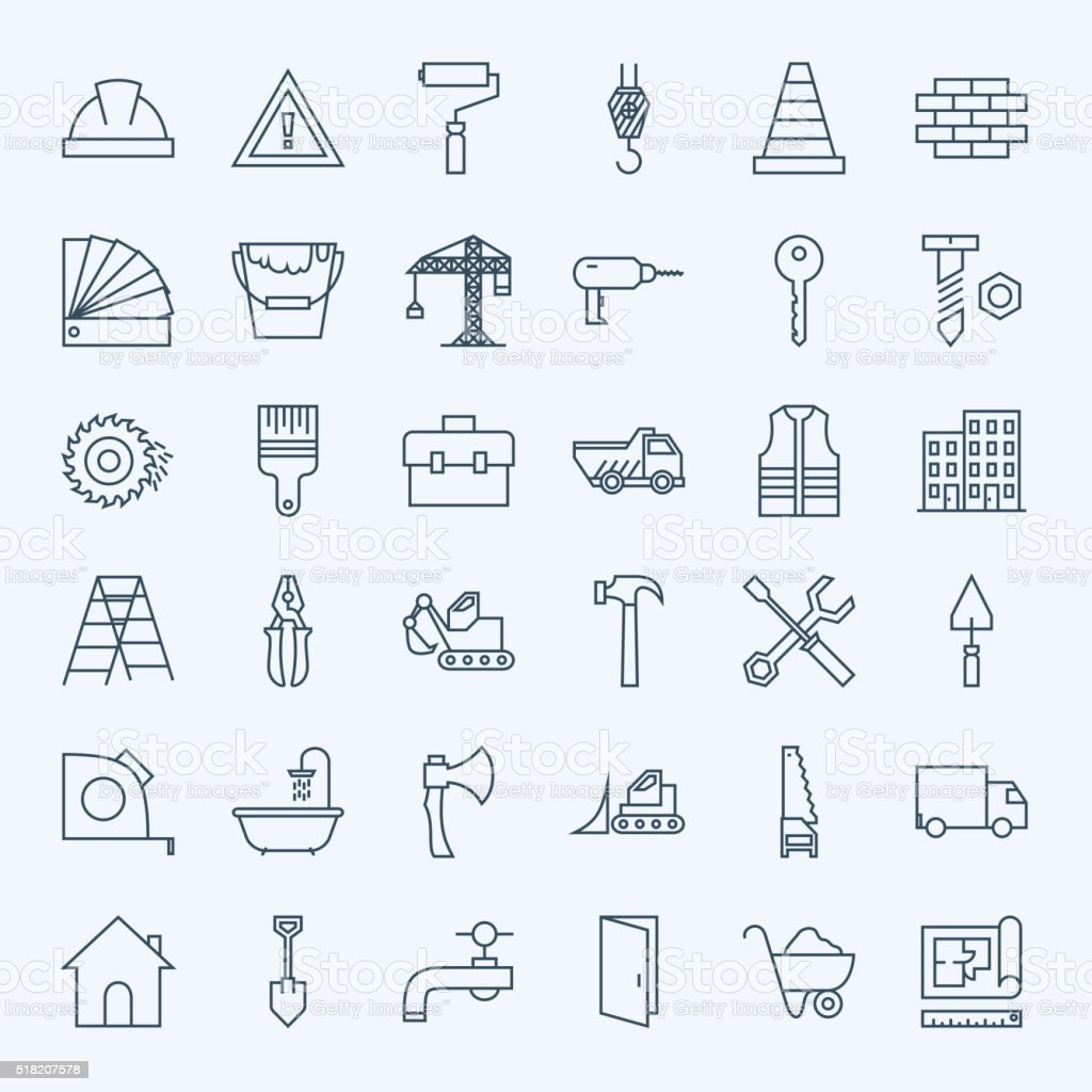 Conjunto de ícones de ferramentas de construção de linha - ilustração de arte em vetor