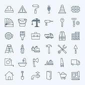 Line Construction Tools Icons Set