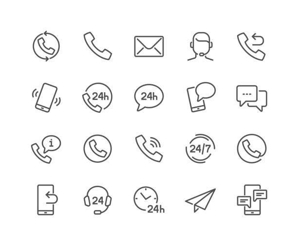 ikony kontaktów liniowych - obsługa stock illustrations